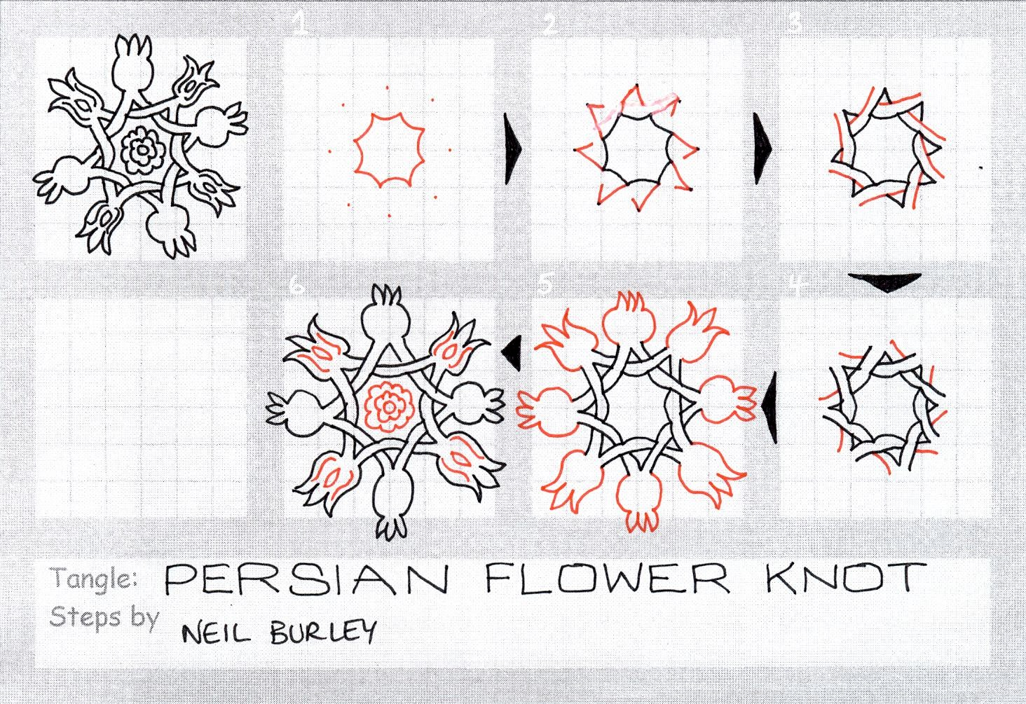 Persian Flower Knot – tangle pattern   perfectly4med ... Persian Pomegranate Art