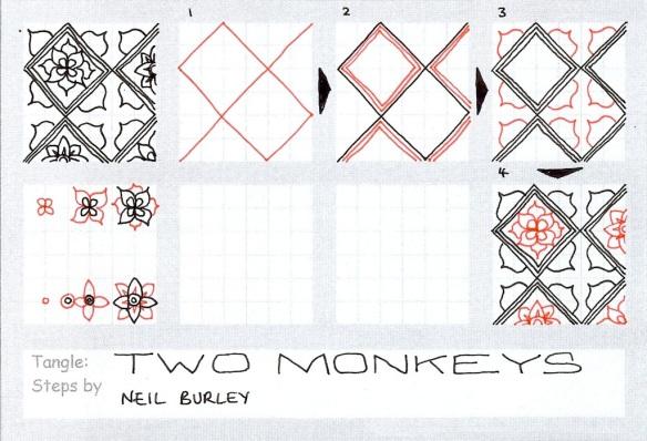 Two Monkeys - tangle pattern